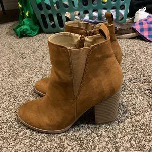 Express brown suede booties